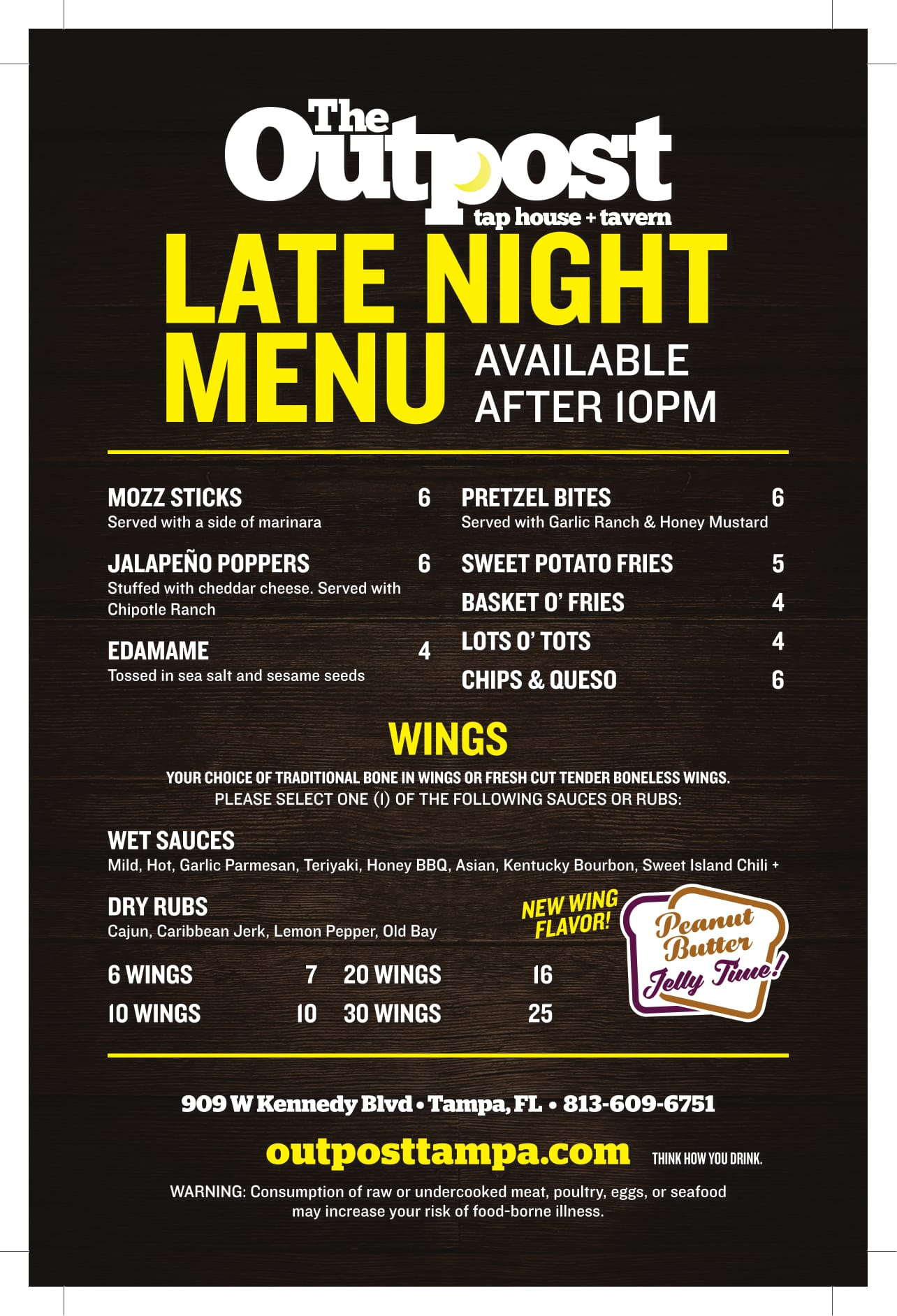 Late Night The Outpost Tap House + Tavern Menu